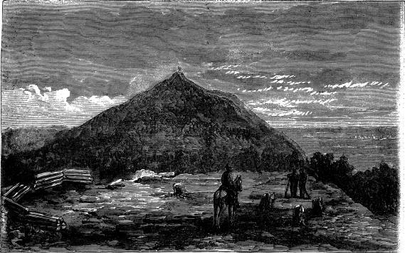 [General Sherman's Advance—View of Kenesaw Mountain, From Little Kenesaw.—Sketched by T. R. Davis]