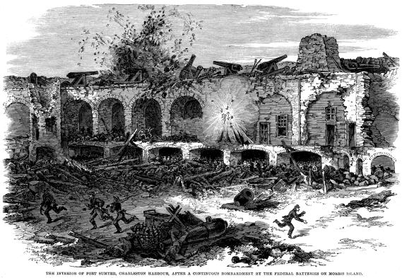 [The Interior of Fort Sumter, Charleston Harbour, after a continuous bombardment by the Federal batteries on Morris Island.]