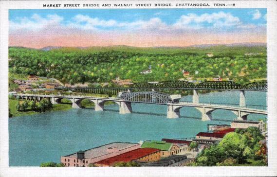 [Market Street Bridge and Walnut Street Bridge, Chattanooga, Tenn.<br />Linen postcard]