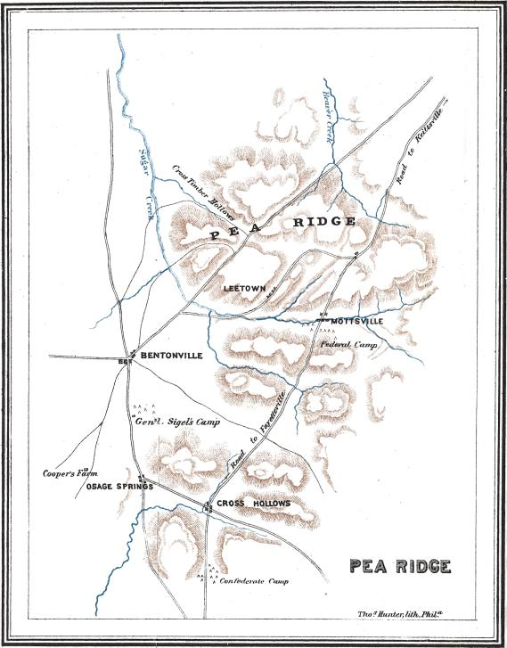 [Map of the Battle of Pea Ridge, March 6–8, 1862.<br />From <cite>History of the Civil War in America</cite> by Comte de Paris]