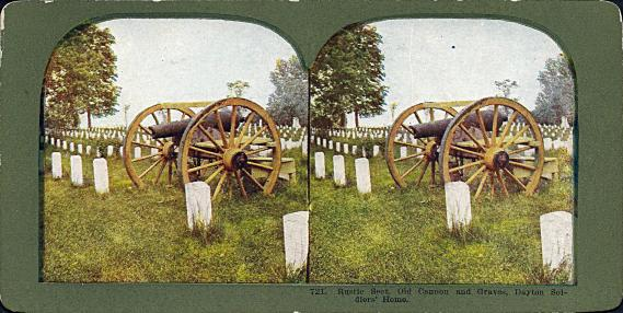 [Rustic Seat, Old Cannon and Graves, Dayton Solders' Home.]