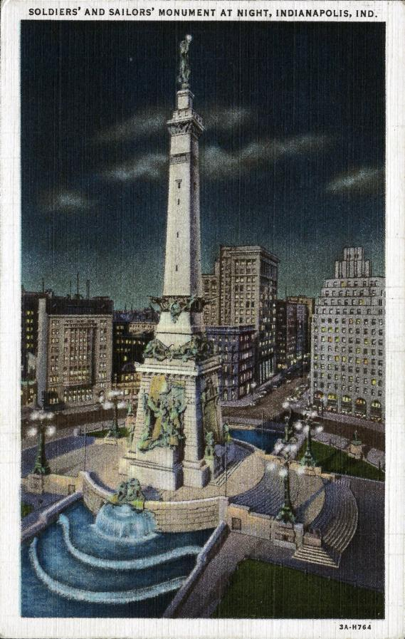 [Postcard of Soldiers and Sailors Monument at night, Indianapolis, Ind.<br /> &lt;p&gt;Linen postcard]