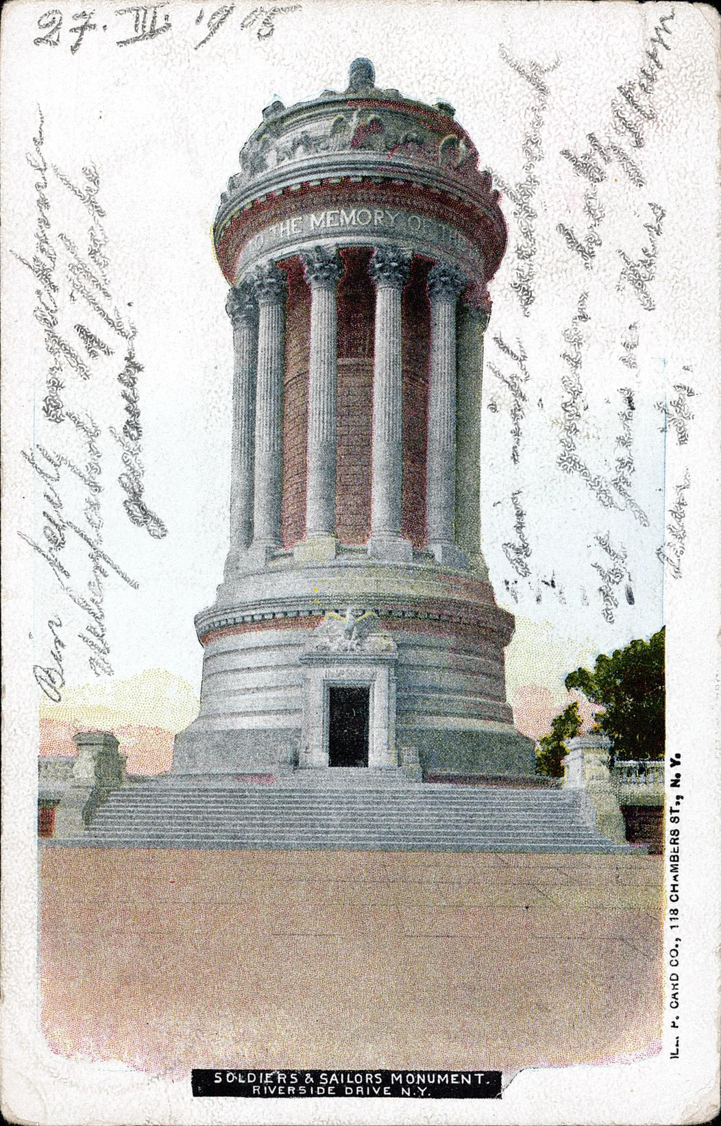 Soldiers & Sailors Monument, Riverside Drive, N. Y. Undivided back