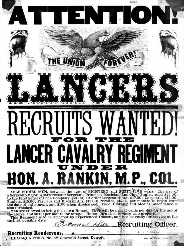 Lancer Cavalry Regiment recruiting poster