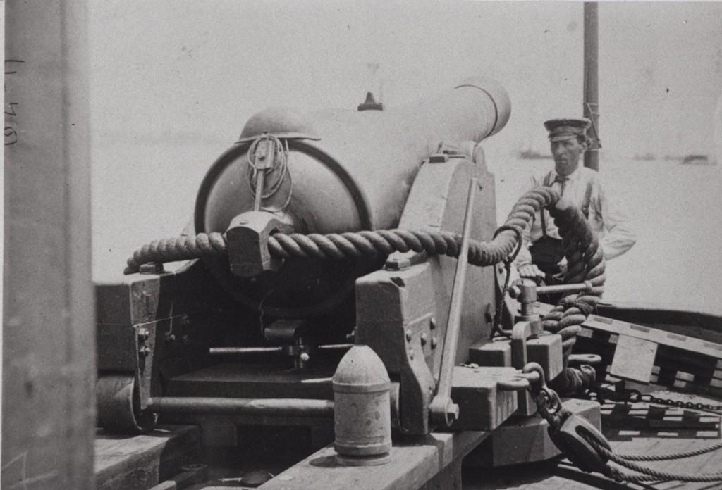 "100-pound gun on board Confederate Gunboat ""Teazer"", captured July 4, 186"
