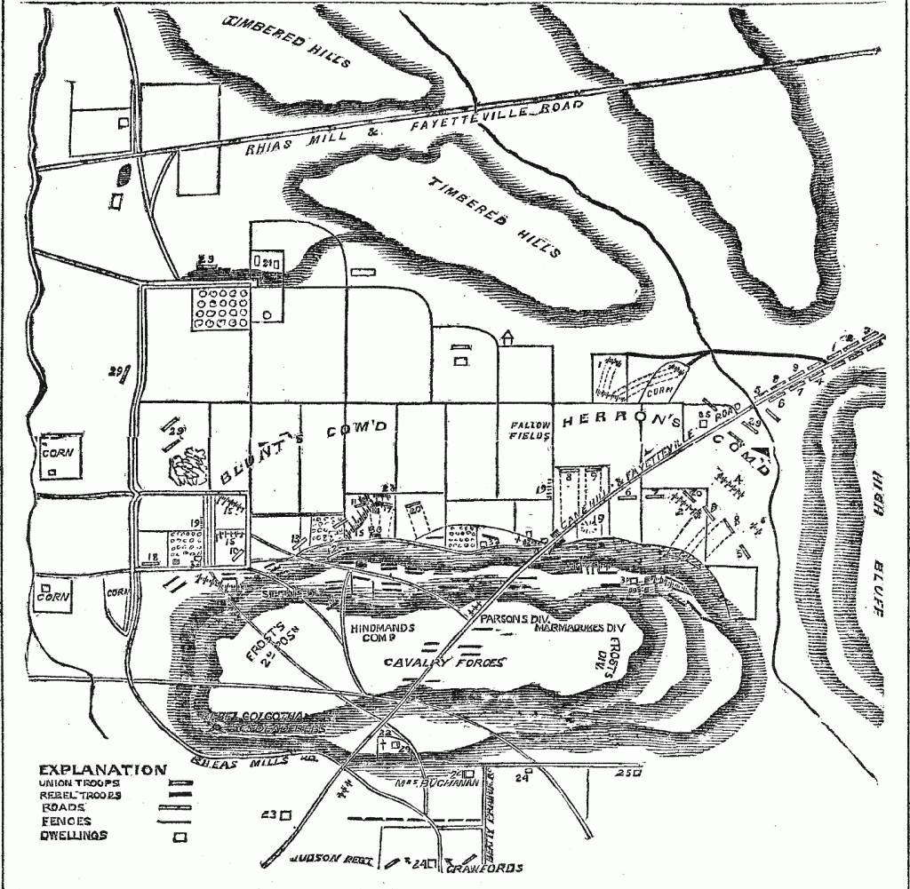 Plan of the Battle of Prairie Grove, Arkansas.
